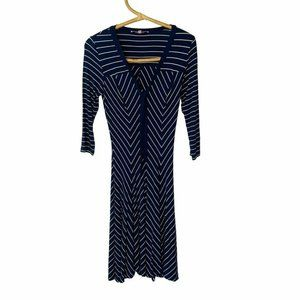 Review Size 6 Blue White Stripe Mid Length Dress VGC Party Cocktail